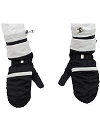 GEOSPIRIT Daunen Winter Fäustlinge Handschuhe in Schwarz/Weiß