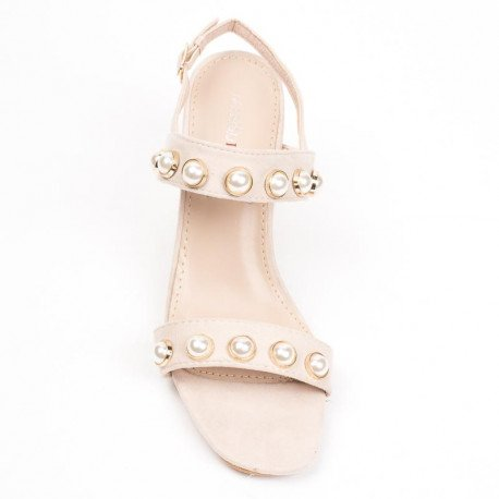 Ideal Shoes - Sandales à talon carré effet daim incrustées de strass Luisa Beige