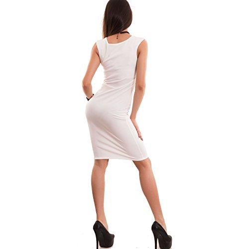 Toocool - Vestito donna abito tubino scollo cuore al ginocchio elegante nuovo CJ-1480 Bianco