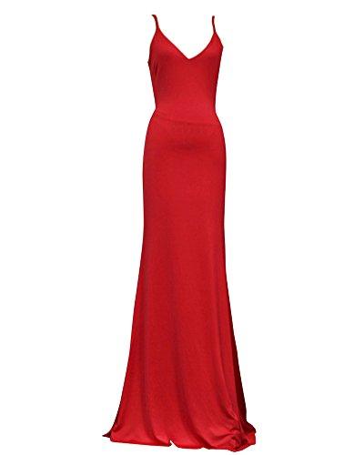 Donna Elegante Senza Spalline Vestiti Lungo da Sera Abito Da Festa Di Matrimonio Abito Fishtail Cocktail Rosso