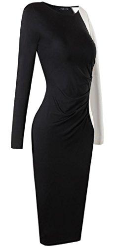 jeansian Damen Elegant Long Sleeve Stitching Pencil Bodycon Dress Evening Party Office Lady Slim Dresses WKD290 Black