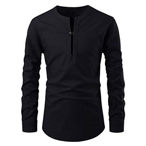 DNOQN Oversize T Shirt Herren Cashmere Pullover Slim Fit Bluse Männer Mode Einfarbig Stehkragen Langarm Shirt Slim Fit Bluse S