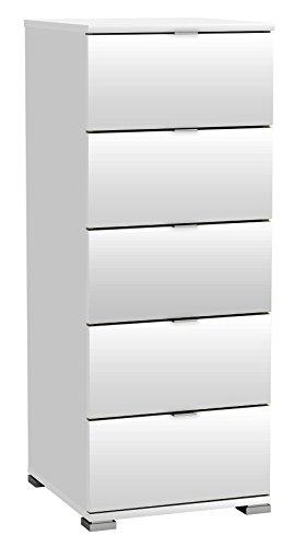 Kommode weiß B 40 H 102 Hochkommode Schrank Schubladenkommode Aufbewahrung Mehrzweckschrank Kinderzimmer Jugendzimmer Schlafzimmer
