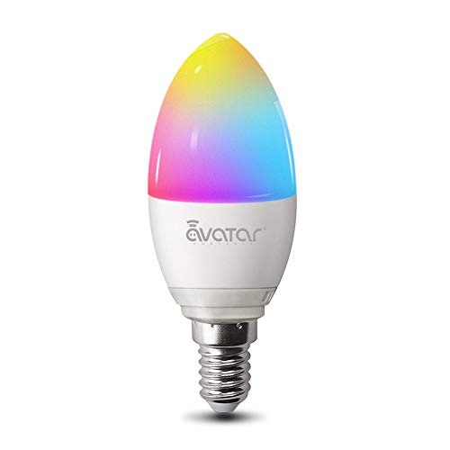 Bombilla WiFi Inteligente, Avatar Controls Inalambrica LED E14 5W Luz RGBW Regulable Control Remoto Compatible con Amazon Alexa Google Assistant IFTTT