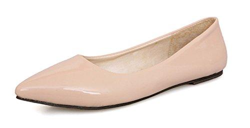 Aisun Damen Spitz Geschlossen Süß Lackleder Flach Schuhe Beige