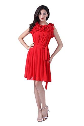 Bridal_Mall - Robe - Trapèze - Sans Manche - Femme Rouge - Rouge