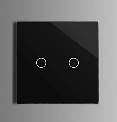 Touch Lichtschalter Elektronischer Kratzfeste Schwarz Glas 2 Fach Serienschalter Wechselschaltung (Installieren Lichtschalter Dimmer)