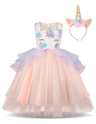 NNJXD Mädchen Einhorn Party Kostüm Blume Cosplay Hochzeit Halloween Fancy Prinzessin Kleid + Kopfbedeckung Größe (100) 3-4 Jahre - Kleinkind Kostüm Mit Tutu