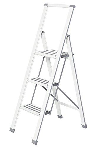 WENKO Leichte Aluminium Trittleiter mit 3 Stufen für 75 cm höheren Stand, rutschsichere XXL-Stufen, Design Klapptrittleiter mit 44 x 127 x 5,5 cm, TÜV Süd zertifiziert, weiß