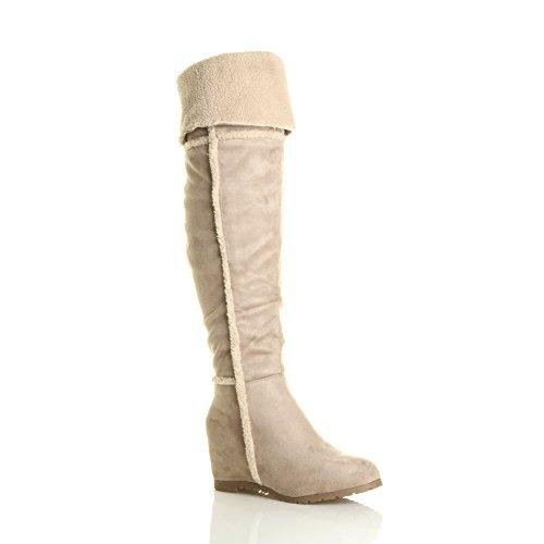 Damen Mitte Keilabsatz Pelzkragen Flieger Shearling Overkneestiefel Über dem Knie Oberschenkel Stiefel Größe Beige