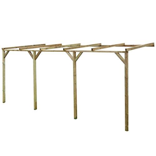 mewmewcat Terrassendach Terrassenüberdachung Pergola aus Holz für Wandanbau 2mx5mx2,2m