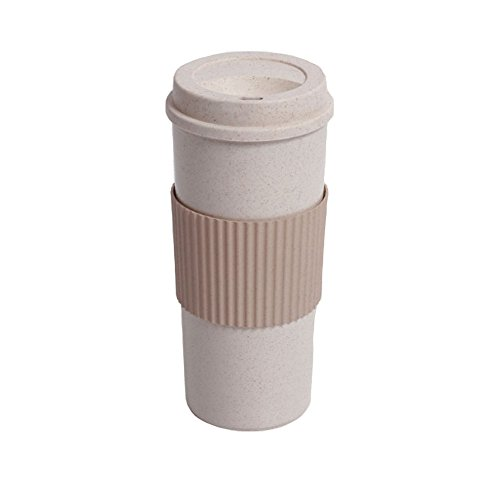 Riutilizzabile Travell Tazza per caffè, tè, Ailina Takeaway tazze in legno di isolante e resistente materiale 100% organico e senza BPA riso Husk a tenuta stagna in silicone tazze con coperchio e impugnatura, Brown, 550ml