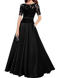 Topkleider Damen Glamour Schwarz Rundkragen Spitze Satin A-Linie 2019 Abendkleider  Lang Brautmutterkleider Partykleider Kurzarm 37e8d26fdf