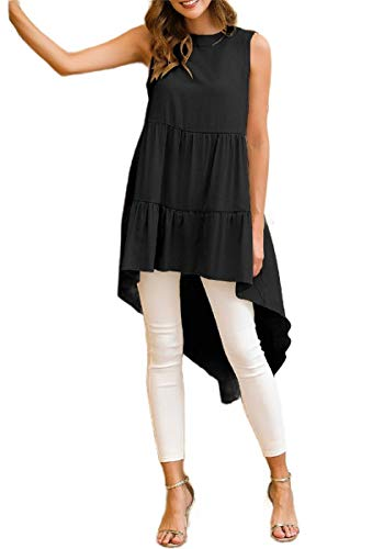 EnergyWomen Ruffle Crew-Neck Sleeveless Bohemian Tshirt Short Dress Black XS -