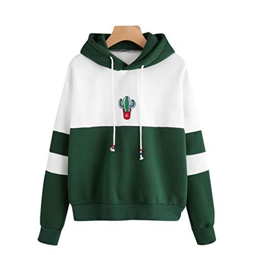 banbie8409 Frauen modische lose Art Sweatshirt Langarm-Kaktus gedruckt beiläufige Damen Hoodies Hoodies Tops Plus Size Eine Art Sweatshirt