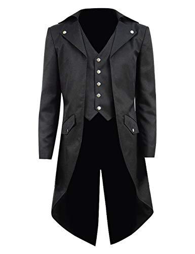BellaPunk Kinder Jungen Steampunk Jacken Cosplay Frack Gothic Long Coat mit Tails (fünf Tasten) (Kinder 12, Schwarz) (Jungen Kolonial Kostüm)