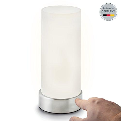 Lámpara de mesa I Lámpara de mesa de noche I Regulable en 4 niveles diferentes de luminosidad I Blanca I Forma cilíndrica I Pantalla cromada I Casquillo E14 I 230 V I IP20 I Ø 110 mm