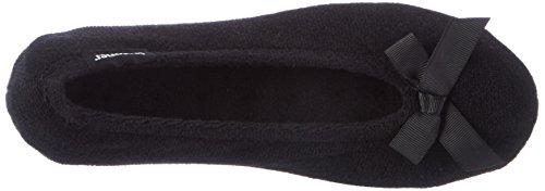 Isotoner  Double Bow Terry Ballet Slippers,  Damen Hausschuhe Black/White Spot Bow