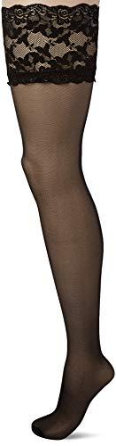 Ulla Popken Große Größen Damen Halterloser Strumpf, 20 DEN, (Schwarz 10), One Size (Herstellergröße: 1)