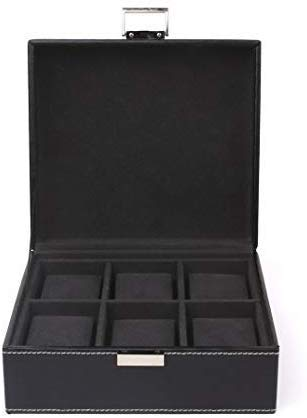 Femor scatola porta orologi organizzatore espositore per orologi o gioielli a 6 scomparti in pelle pu con blocco