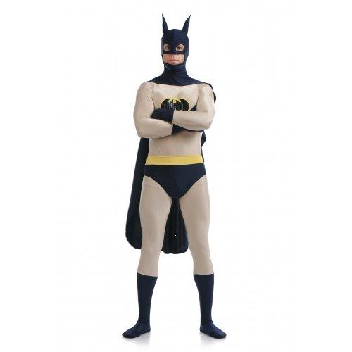 Batman Superskin Kostüm, Umhang & Maske–Erwachsene Unisex Damen & Herren zweite Haut | Zentai Robin Einteiler Kleidung Outfit Halloween Lycra Billig (Masken Robin)