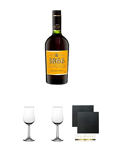 1866 Brandy Gran Reserva 0,7 Liter + 2 Bugatti Nosing Gläser mit Eichstrich 2cl und 4cl + 2 Schiefer Glasuntersetzer eckig ca. 9,5 cm Ø