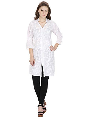 Indiankalakari.com Lucknowi Chikankari Embroidery Cotton Kurti (X-Large)