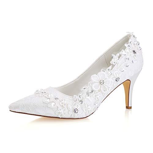 Emily bridal scarpe da sposa in seta da donna, simili a décolleté in raso con tacco grosso, con fiore di pizzo in pizzo (eu36, avorio)