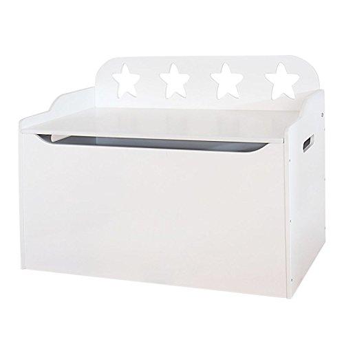 Bainba Baúl, Diseño Estrellas, Madera, Blanco, 47x80x60