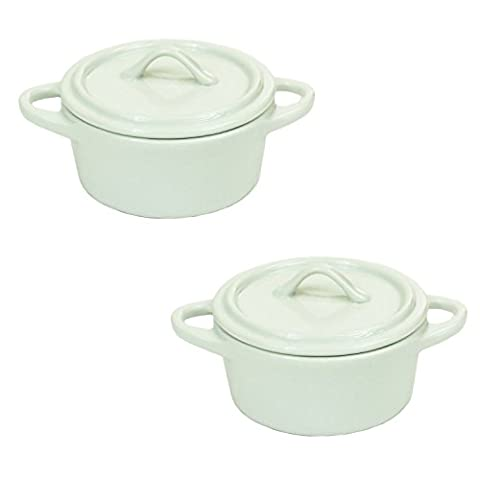White Round Porcelain Serving Cooking Baking Tapas Party Dish With Lid (Set Of 2)
