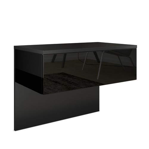 Vladon Nachttisch Nachtkonsole Sleep, Korpus in Schwarz matt/Front und Seiten in Hochglanz