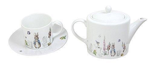 Beatrix Potter Peter Rabbit Bleu Gris Porcelaine Blanche Tasses à Thé Soucoupes & Théière