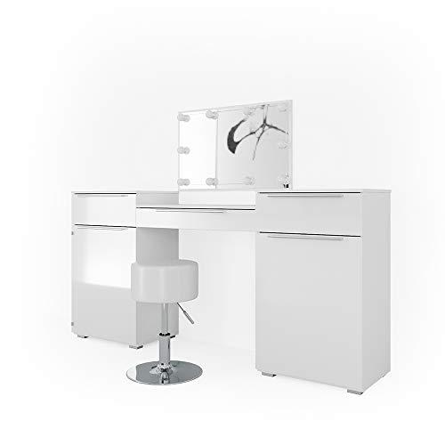 Vicco Frisiertisch Lilli Weiß Hochglanz - Schminktisch mit Spiegel Hocker und LED - Kosmetik Set Design Kommode (Schminktisch mit Hocker und LED) -