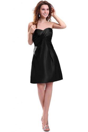 Lemandy robe de soirée satin longueur genou col en coeur Noir