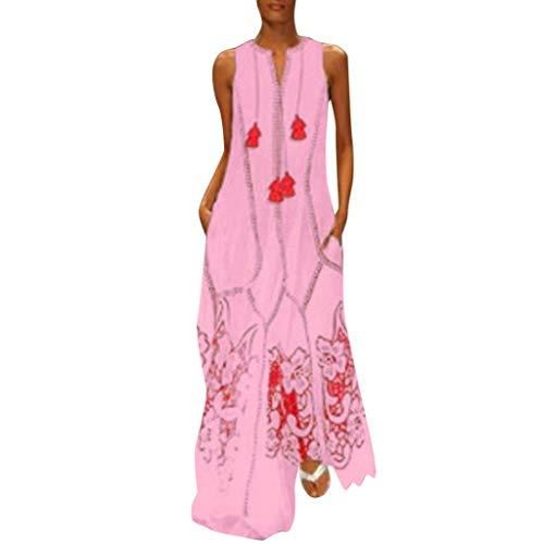 iges Ärmellose Baumwollmischung Gedrucktes Blumen Sommerkleid mit Slash-Ausschnitt und Schulterfreiem Gerafften Abendkleid mit Gürtel(Rose 2,L4) ()
