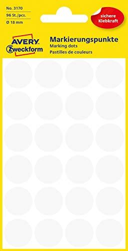 AVERY Zweckform 3170 selbstklebende Markierungspunkte (Ø 18 mm, 96 Klebepunkte auf 4 Bogen, runde Aufkleber für Kalender, Planer und zum Basteln, Papier, matt) weiß