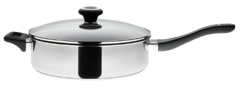 Prestige Cookware Stainless Steel 26 cm Saute Pan with Glass Lid - Silver