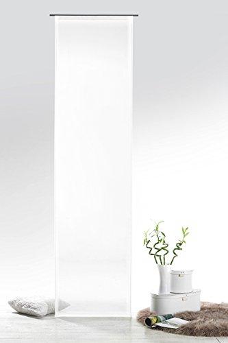 Fashion&Joy - Schiebegardine Voile weiß HxB 245x60 cm mit Zubehör - transparent einfarbig - Flächenvorhang Schiebevorhang Gardine Typ418