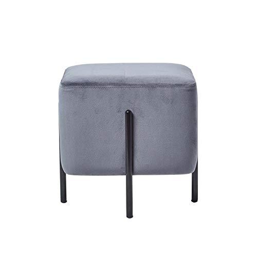 Nachttisch-hocker (Homescapes skandinavische Samt Sitz Hocker, Nordische Pouf im minimalistischen Design, Sitzwürfel mit Beinen, einsetzbar als Fußhocker, Ottomane, Sitzpuff, oder Schminktisch Hocker, grau)