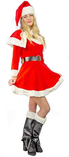 Nick and Ben Weihnachtsfrau Kostüm für Frauen | 5-teilige Verkleidung für die Weihnachtszeit | Kleid Gürtel Mantel Stiefelüberzieher Hut | rot, weiß |: Größe: S