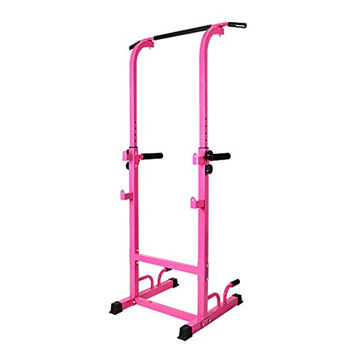 Dip-Station Tower Dip Robustes Multifunktions-Körperkraftwerk & Klimmzugstange for Fitness zu Hause Dip Barren (Color : Pink, Size : 195 * 76.5 * 65cm)