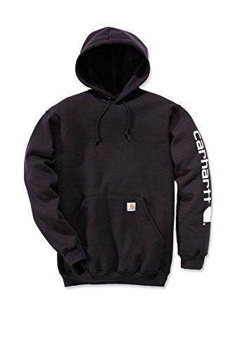 Preisvergleich Produktbild Carhartt Midweight Signature Sleeve Logo Hooded Sweatshirt - Kapuzenpullover (M,  schwarz)