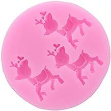 Ogquaton Ciervos de Navidad Forma de Silicona Azúcar Craft Moldes Fondant Molde Pastel Utensilios para Hornear