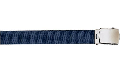 Army Camouflage Solid Color Military Web Belt (Navy Blue Belt - Chrome Buckle, 64