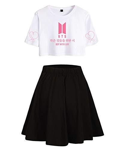 Siennaa BTS T-Shirts und Rock Set Damen, Teenager Mädchen Map of The Soul Persona Tshirts Kurz Rocks Crop Tops Anzug Frauen Bauchfrei Oberteile Armee Suga Jimin Jin Jung Jook J-Hope Rap-Monster V