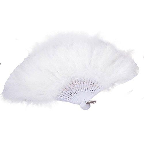 Winkey Handfächer, Hochzeit, Showgirl Tanz-Requisiten, elegant, große Feder, faltbar, weiß