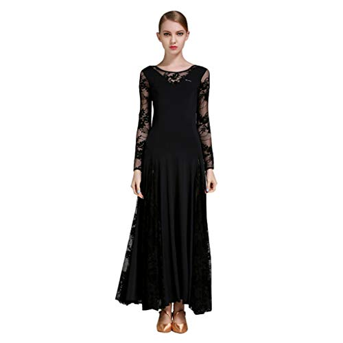 Modern Kleider Kostüm Dance - Elegante Große Schaukel Moderne Praxis Rock Mesh, Ballroom Dance Kostüme Langarm Trikot Einfache Tango Kleider Für Frauen (Farbe : Schwarz, größe : S)