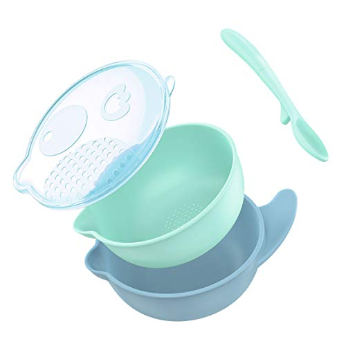Zooawa Baby Feeding Bowl, Nonslip Spill Proof Grinding Training Bowl with Spoon and Lid, Safe Two Layer Feed Toddler Dishes, BPA-Free, Blue