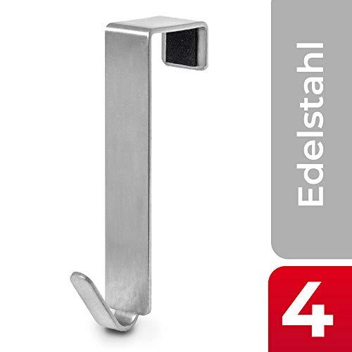 MDCASA Türhaken Edelstahl gebürstet für Innentür - 4 Stück - Kleiderhaken über Tür - Fensterhaken Deko - Garderoben-Haken - Handtuchhalter - 76x15x20mm -