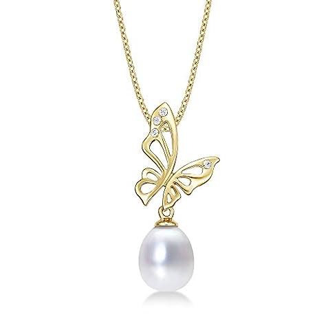 Schmetterling Pearl Drop Anhänger Halskette mit Single 8–8,5mm Süßwasserperle Weiß und Glänzend Weißen Zirkonia Steinen Set in luxuriöser 9K Gelb Gold